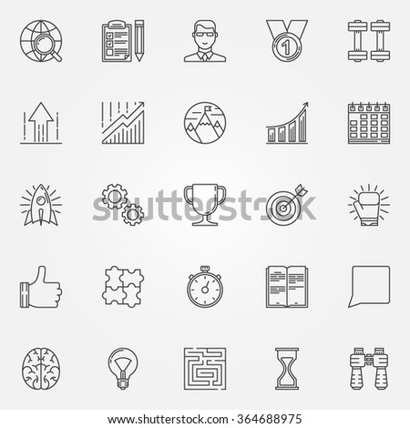 Motivation icons set - vector thin line motivation and success symbols. Outline goals achieving signs - stock vector