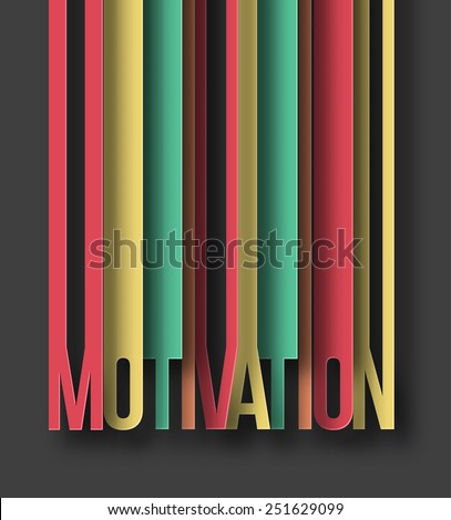 Motivation paper cut text on abstract background with drop shadows. Vector illustration  - stock vector