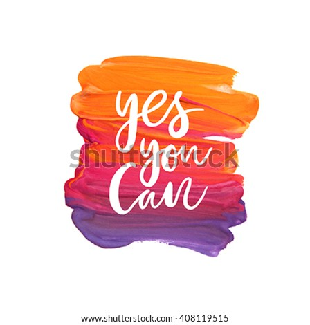 """Motivation poster """"Yes you can"""" Abstract background - stock vector"""