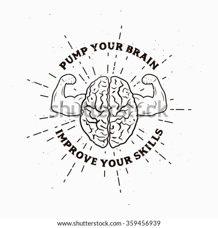 Motivational Muscle Brain illustration. Vector picture. Template for print, cover, poster, art or business works. - stock vector