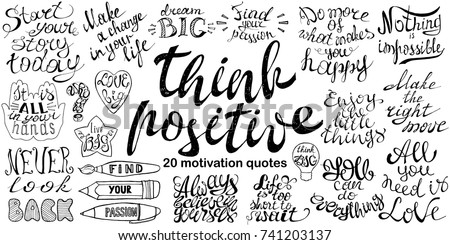 Inspirational Phrases Simple Motivational Quotes Set Hand Drawn Inspirational Stock Vector