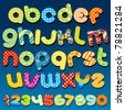 Motley Colorful vector Cartoon  font - letter from A to Z, clip art for your design or text - stock photo