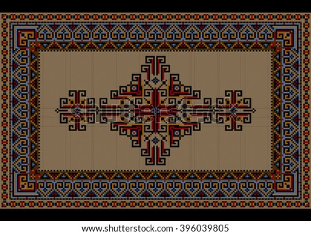 Motley luxury vintage carpet with ethnic ornament on a beige field  - stock vector