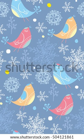 Motley snowflakes and Birds seamless pattern. Winter endless background. Seamless background for winter and christmas theme. Hand drawn pattern.