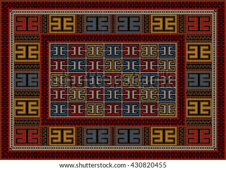 Motley vintage carpet ethnic geometric ornament - stock vector