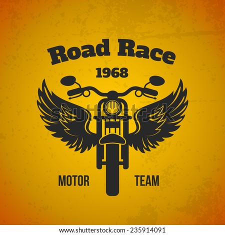 Moto bike with wings road race motor team black text poster vector illustration - stock vector