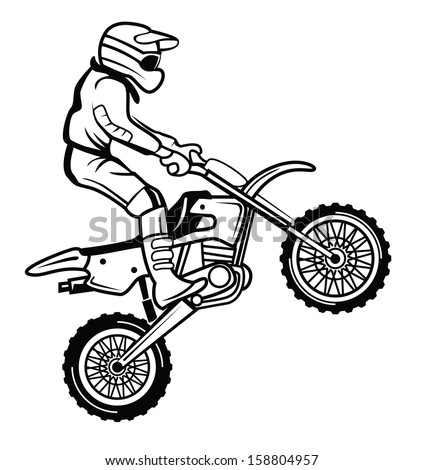 Dirt Bike Clipart Black And White Moto Cross Stoc...