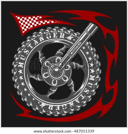 Moto Logo Symbol inside wheel and tribal