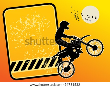 Motocross background with space for text, vector illustration - stock vector