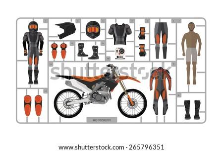 Motocross bike silhouette with helmet isolated on white. Vector illustration - stock vector