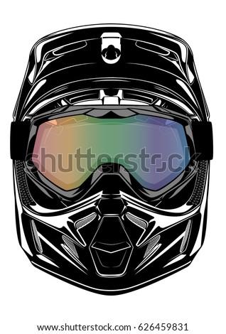 Dirt Bike Helmet With Visor >> Red Black Paintball Mask Transparent Goggles Stock Vector 117093718 - Shutterstock