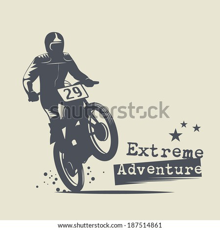 Motocross Extreme Adventure background, vector illustration - stock vector