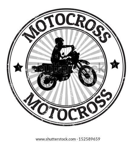 Motocross grunge rubber stamp, vector illustration - stock vector