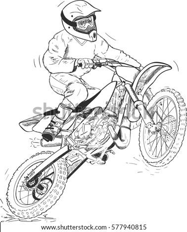 Black Silhouette Motocross Rider Jump Flag Stock Vector