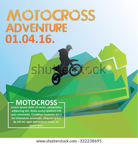 Motocross poster. Vector illustrations. Fat concept - stock vector