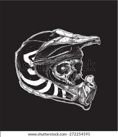 Motocross Skull - stock vector