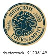 Motocross Tournament stamp, vector illustration - stock