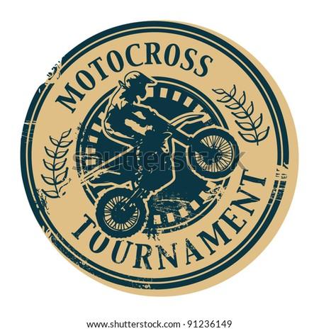 Motocross Tournament stamp, vector illustration - stock vector
