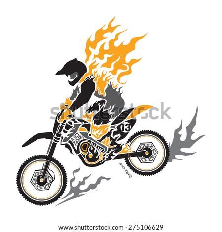 motocross vector - stock vector