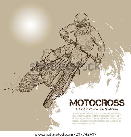 motocross. vector illustrations - stock vector