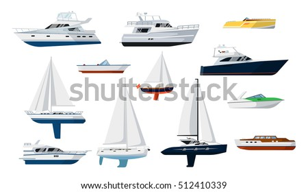Motor boat and sail boat side view set vector icon. Ship, pleasure boat, speed boat, vessel boat, cruise ship, luxury yacht, power boat, sailfish in flat design. Realistic isolated boat. Boat icon.