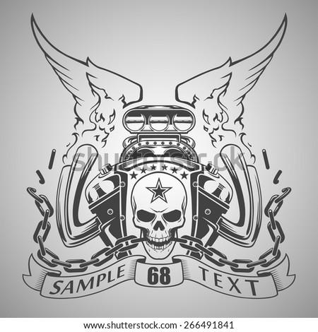 Motor emblem - stock vector