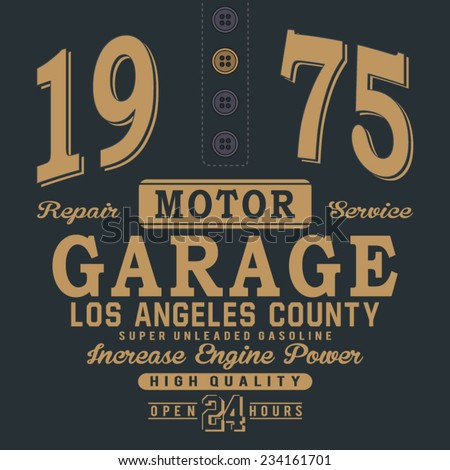 Motor garage typography, t-shirt graphics, vectors - stock vector
