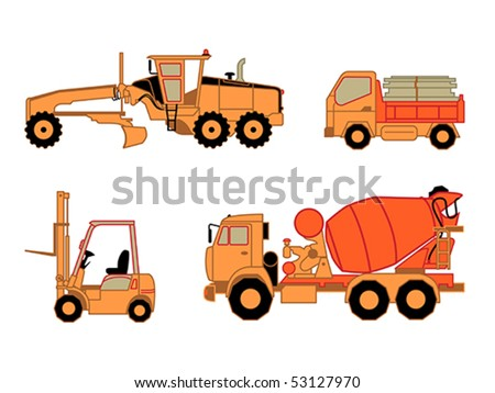 Motor grader, dump truck, lift truck and concrete mixer truck isolated