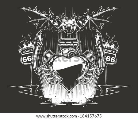 Motor Heart - stock vector