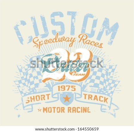 Motor race contest - Vintage vector artwork for boy sports wear in custom colors, grunge effect in separate layer. - stock vector