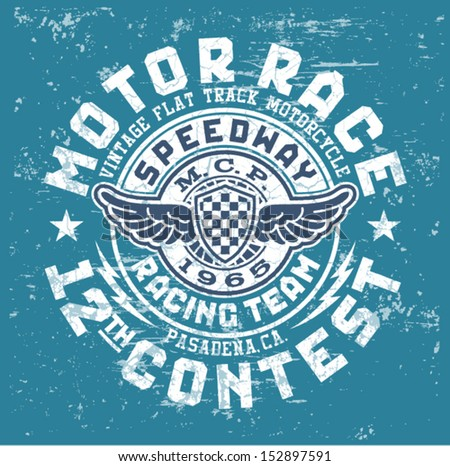 Motor race contest - Vintage vector artwork for boy t shirt in custom colors  - stock vector
