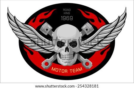 motor Skull Emblem. vector logo graphic  - stock vector