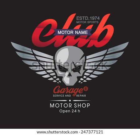 Motor skull garage and service shop.  - stock vector