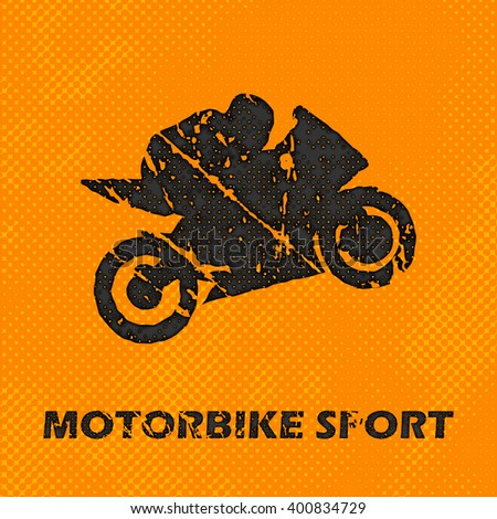 Motorbike and Bikers Man, illustration, image. Creative, luxury gradient color style image. Print label, banner, icon, book, cover, card, website, web, greeting, invitation.  Street art scratch design - stock vector