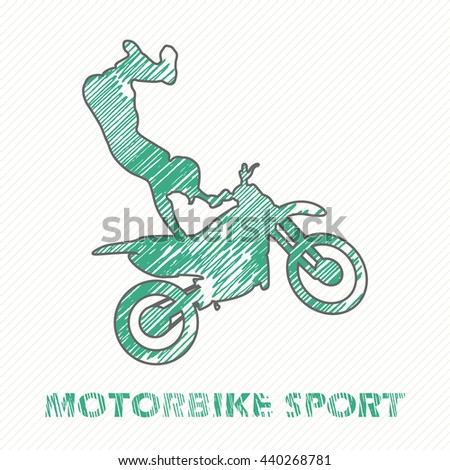 Motorbike and Bikers Man illustration, image. Creative, luxury gradient color style image. Print label, banner, icon, book, cover, card, website, web, greeting, invitation. Hand drawn textured - stock vector