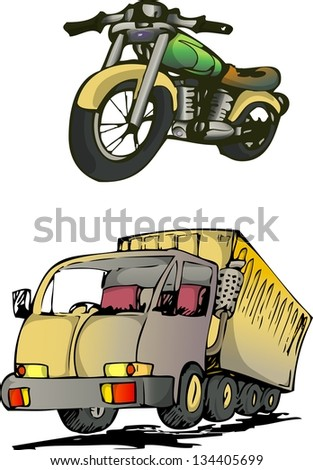 motorbike and truck hand drawn, isolated on white - stock vector