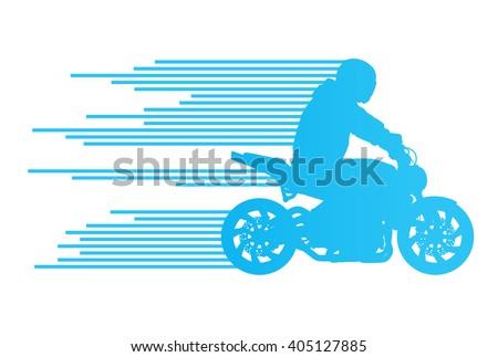 Motorbike rider vector background trick stunt illustration concept made of stripes - stock vector
