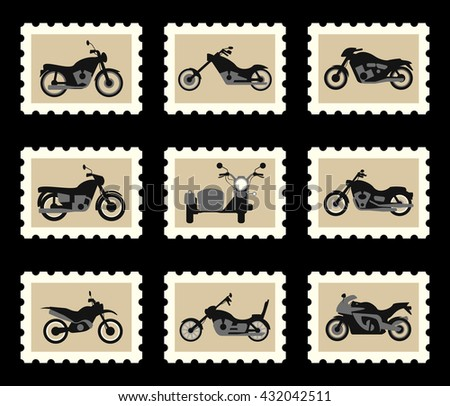 Motorbikes chopper motocross and motorcycle with sidecar - stock vector