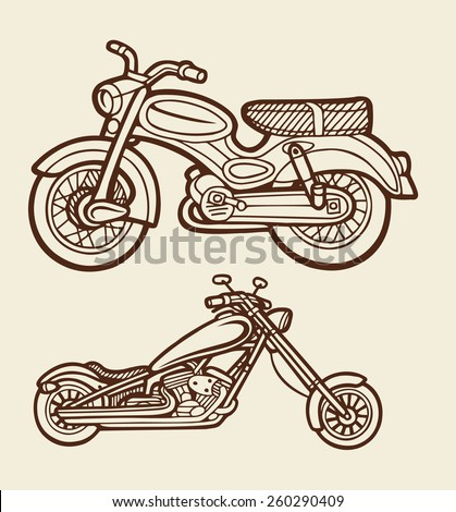 Motorbikes sketch 5. Motorcycles artistic hand drawing vector with vintage color. Good use for illustration design, T-Shirt design, icon, vintage design, symbol, or any design you want. Easy to use. - stock vector