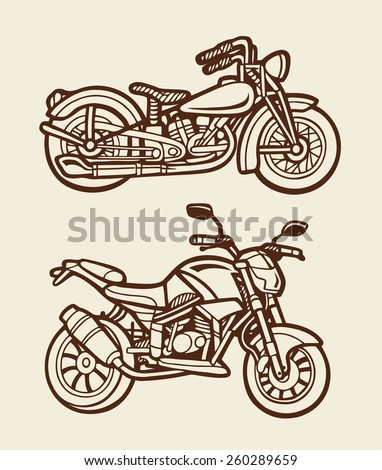 Motorbikes sketch 4. Motorcycles artistic hand drawing with vintage color. Good use for illustration design, T-Shirt design, icon, vintage design, symbol, or any design you want. Easy to use. - stock vector