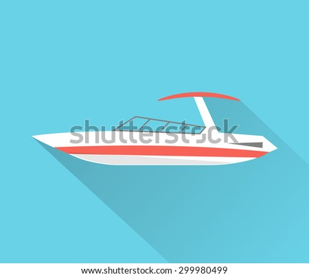 Motorboat icon, isolated, vector  - stock vector
