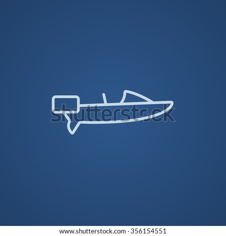Motorboat line icon for web, mobile and infographics. Vector light blue icon isolated on blue background. - stock vector