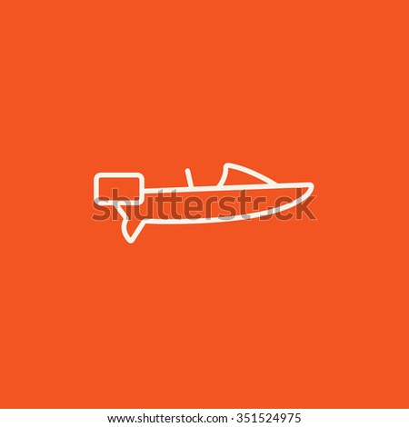 Motorboat line icon for web, mobile and infographics. Vector white icon isolated on red background. - stock vector