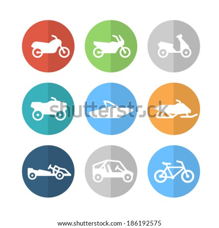 Motorcycle and other transport icons - stock vector