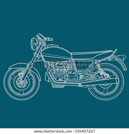 Motorcycle blueprint stock vector 336407267 shutterstock motorcycle blueprint malvernweather Gallery