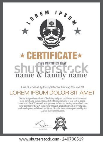 motorcycle  certificate. - stock vector