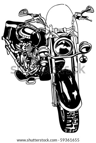 Motorcycle Drawing - stock vector