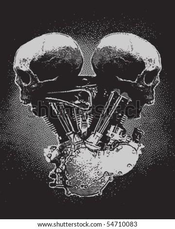 Motorcycle Engine Skull - stock vector