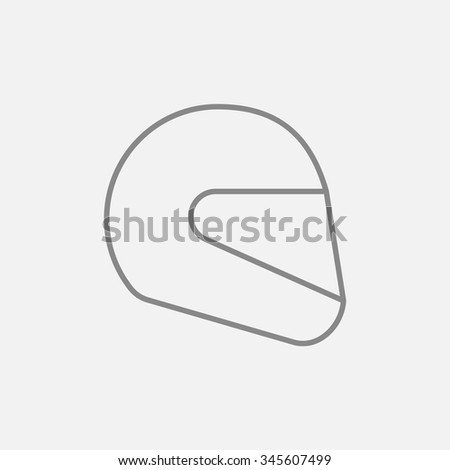 Motorcycle helmet line icon for web, mobile and infographics. Vector dark grey icon isolated on light grey background.