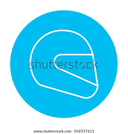 Motorcycle helmet line icon for web, mobile and infographics. Vector white icon on the light blue circle isolated on white background.
